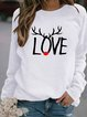 Plus Size Crew Neck Long Sleeve Tribal Cotton-Blend Shirts & Tops