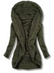 Olive Green Plain Long Sleeve Shift Casual Sweater
