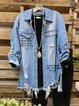 Blue Letter Cotton-Blend Shift Casual Outerwear