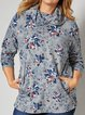 Gray Floral Shift Casual Cotton-Blend Shirts & Tops