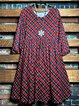 3/4 Sleeve Red Plaid Round Neck Loose Fitting Dress