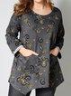 Gray Long Sleeve Cotton-Blend Casual Shift Shirts & Tops