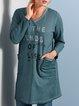 Green Long Sleeve Cotton-Blend Letter Shift Dresses