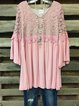Plus Size Cotton-Blend Crew Neck Vintage 3/4 Sleeve Shirts & Tops