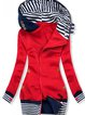 Red Hoodie Long Sleeve Cotton-Blend Outerwear