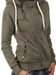 Army Green Casual Cotton-Blend Pockets Outerwear