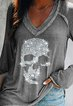 Gray Casual Shift Beaded Shirts & Tops