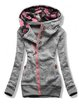 Gray Cotton-Blend Casual Hoodie Outerwear