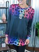 Leopard Long Sleeve Casual Cotton-Blend Shirts & Tops