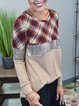Apricot Long Sleeve Checkered/plaid Shift Cotton-Blend Shirts & Tops