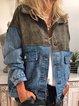 Blue Cotton-Blend Casual Shift Plain Outerwear