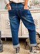 Blue Cotton-Blend Casual Plain Pants