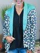 Leopard Cotton-Blend Casual Shift Shawl Collar Outerwear
