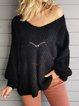 Black Cutout Long Sleeve Plain Shift Sweater