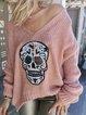 Pink Skull Long Sleeve V Neck Sweater