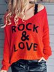Red Letter Cotton-Blend Casual Sweater