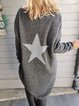 Gray Shift Cotton-Blend Casual Star Sweater