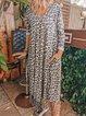 Leopard Long Sleeve Cotton-Blend Vintage Dresses