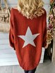 Red Shift Cotton-Blend Casual Star Sweater