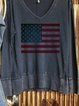 Retro casual American flag print long-sleeved knitted top