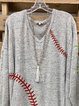 V-neck loose casual printed long-sleeved top