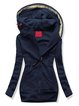 Deep Blue Casual Solid Long Sleeve Hoodie Outerwear