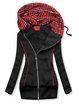 Black Plaid Hoodie Casual Floral-Print Outerwear