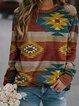 Multicolor Crew Neck Casual Patchwork Printed Sweatshirt