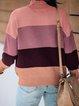Purple Long Sleeve Cotton-Blend Sweater