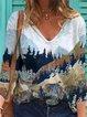 Vintage Long Sleeve V Neck Geometric Landscape Printed Plus Size Statement Casual Tops