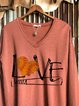 Love baseball print autumn and winter sweater long-sleeved top