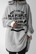 Gray Shift Hoodie Long Sleeve Letter Shirts & Tops