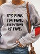 Vintage Letter Love Printed Plus Size Long Sleeve Crew Neck Casual Sweatshirt Tops