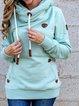 Light Blue Cotton-Blend Casual Hoodie Solid Sweatshirt