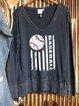 Retro American Baseball Fun Print Long Sleeve Sweatshirt