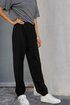 Black Cotton-Blend Casual Solid Paneled Pants