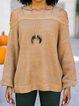 Camel Cotton-Blend Cold Shoulder Jacquard Shift Sweater