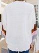 White Cotton-Blend Casual Geometric Sweater