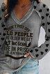 Gray V Neck Printed Long Sleeve Shirts & Tops