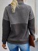 Gray Long Sleeve Plain Shirts & Tops