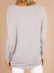 Gray Plain Casual Cotton-Blend Shift Shirts & Tops