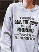 Gray Cotton-Blend Casual Crew Neck Sweatshirt