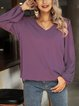 Purple V Neck Long Sleeve Shift Shirts & Tops