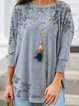 Gray Cotton Floral Shirts & Tops