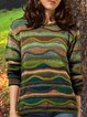 Green Long Sleeve Shift Knitted Vintage Sweater