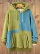 Color-Block Long Sleeve Drawstring Patchwork Hoodie Sweatshirt