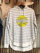 Striped Hooded Fun Print Long Sleeve Sweatshirt