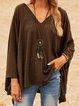Brown Cotton-Blend V Neck Long Sleeve Shirts & Tops