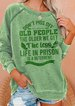 Old People Green Crew Neck Floral-Print Vintage Shirts & Tops