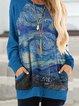 Blue Round Neck Casual Printed Patchwork Sweatshirt